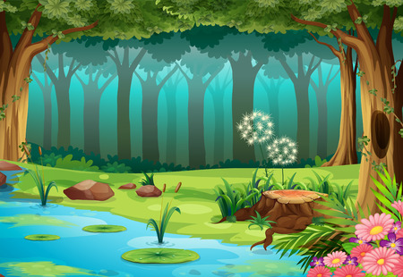 pond water: illustration of a rainforest with no animals