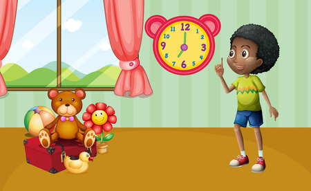 toy box: Illustration of a boy standing in a room with toys