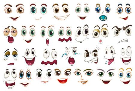ojos llorando: Ilustración de diferentes expresiones faciales