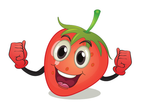 cartoon strawberry: Illustration of a strawberry with face