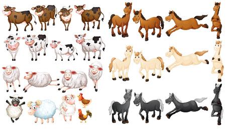 Illustraion of many type of farm animals Vettoriali