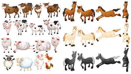 Illustraion of many type of farm animals Çizim