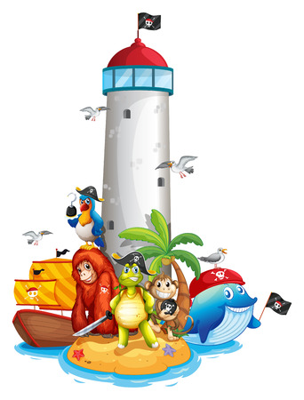 floating island: Illustraion of a lighthouse and many animals