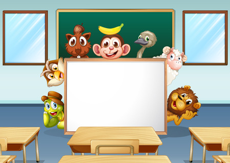 Illustration of animals in a classroom Vector