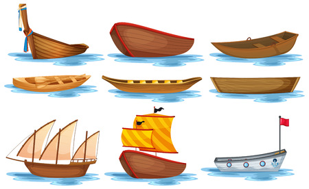row: Illustration of different kind of boats