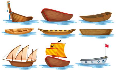 hilera: Ilustraci�n de diferentes tipos de barcos Vectores