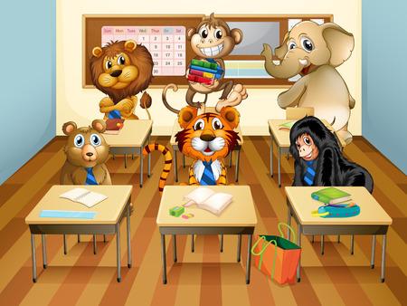 bag cartoon: Illustration of many animals in a classroom Illustration