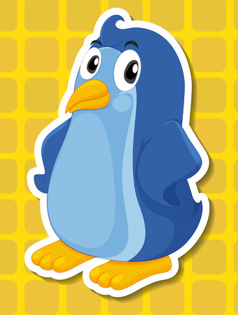 Illustration of a penguin with yellow background Stock Illustratie