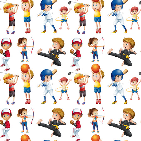 Illustration of a seamless children doing sports Vector