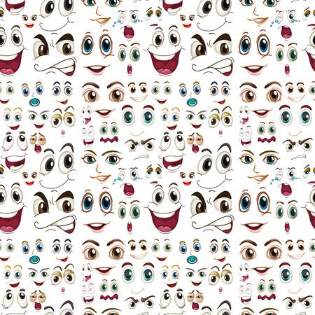 gestos: Illustraion de unas expresiones faciales sin costura