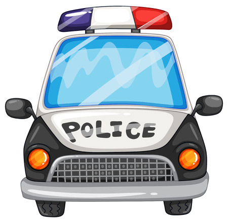 クローズ アップの警察の車のイラスト