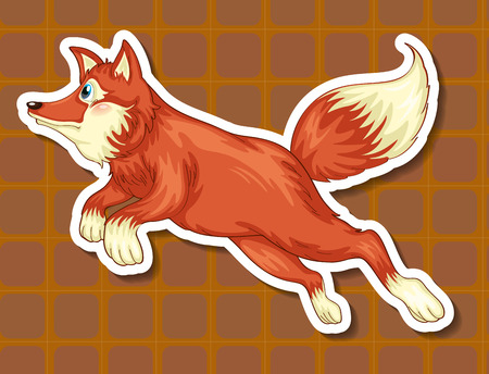 Illustration of a closeup fox with background Vector