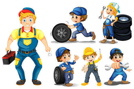 Illustraion of a set of mechanic with tools Stock Illustratie