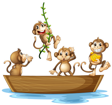 Illustration of many monkeys on a boat Vector