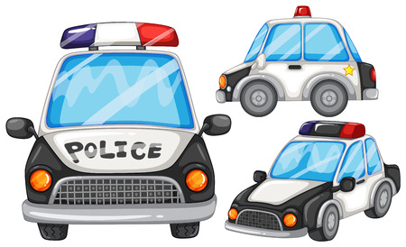 illustratie van drie politieauto's