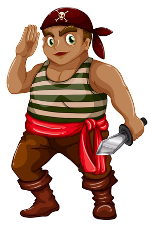 pirate crew: illustration of a male pirate with a sword