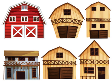 western theme: Illustration of different designs of barns
