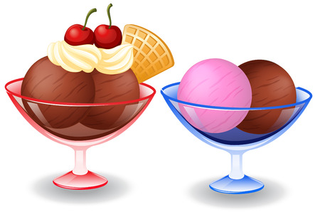 Illustration of ice cream in bowls Vector