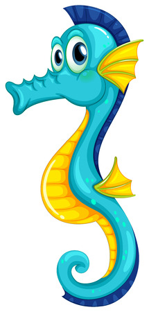 Illustration of a blue seahorse Vector