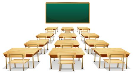 escritorio: Ilustración de un aula vacía