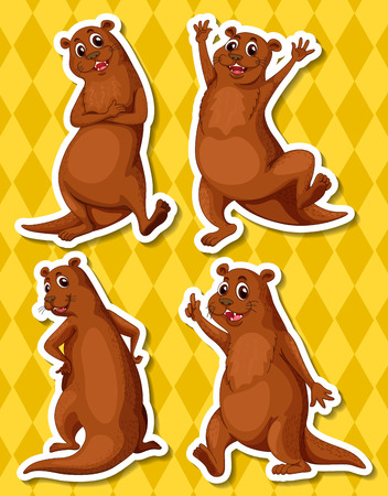 whisker: Illustration of four otters with yellow background