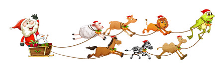 Illustration of Santa Clause on a sledge with many animals Vector