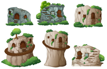illustration of different caves  Vector