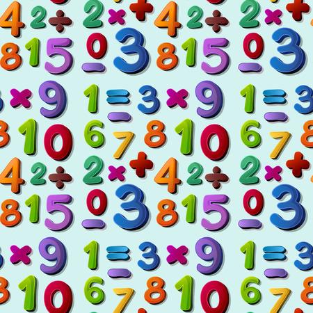 Illustratie van een naadloze cijfers en tekens Stock Illustratie