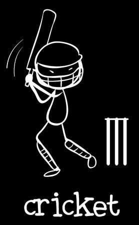 cricket stump: Illustration of a man doing cricket Illustration