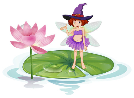 fairytale character: Illustration of a fairy standing on a lotus Illustration