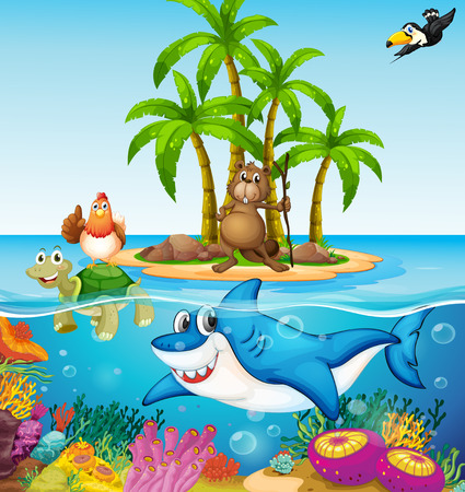 island clipart: Illustration of many lives in the ocean Illustration
