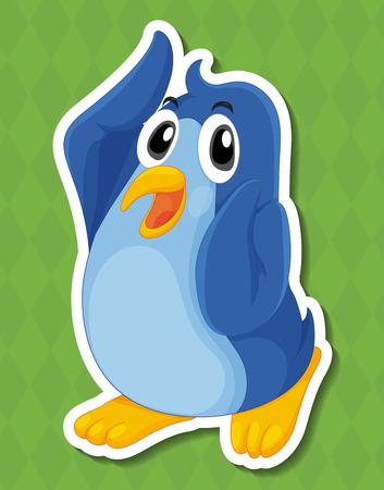 Illustratie van een pinguïn met groene achtergrond Stock Illustratie