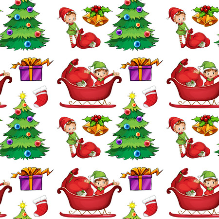 Illustration of a seamless christmas wrapping Vector