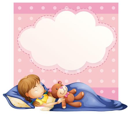 Illustration d'une bannière avec un fond jeune fille endormie Vecteurs
