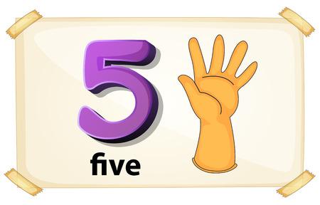 Illustration of a flashcard number five Illustration