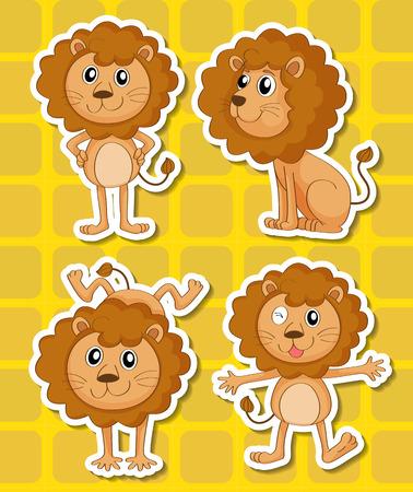 Illustration of a set of lion Illustration