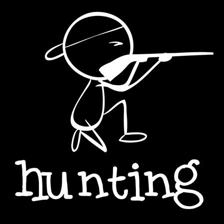 hunting rifle: Illustration of a man hunting