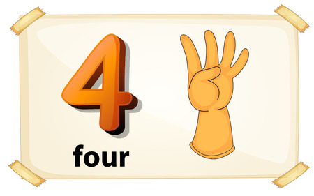 Illustration of a flashcard number four Vector