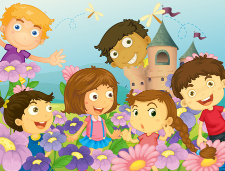 flower fields: Illustration of children in flower field