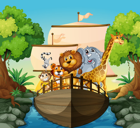 Illustration of many animals on a boat Vector
