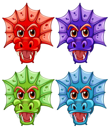 Illustration of four different dragon heads Vector