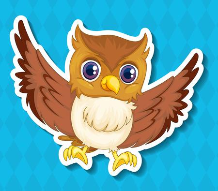 illustraion: Illustraion of a single owlet with blue background