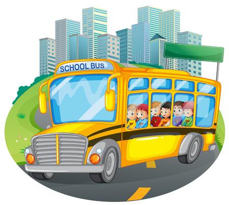 Ilustracja dzieci w szkolnym autobusie