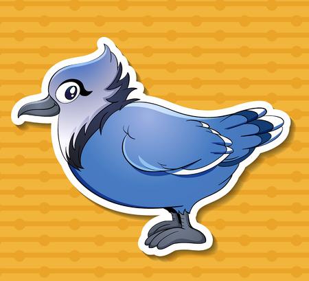 Illustration of a single blue bird  イラスト・ベクター素材