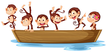 Illustration of monkeys on a boat