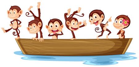 mono caricatura: Ilustración de monos en un barco