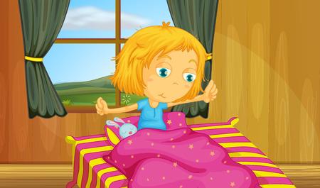 illustrazione di una ragazza svegliarsi in un letto Vettoriali