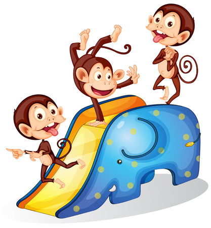 Illustration of many monkeys on a slide Vector