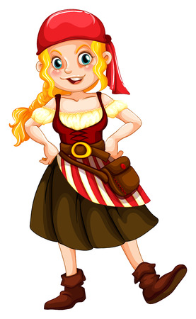 Illustration of a female pirate Vector