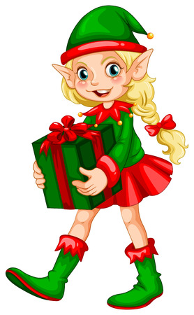 Illustration of an elf with a present Vector